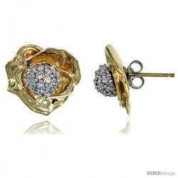 14k Gold Rose Flower Earrings w/ 0.40 Carat Brilliant Cut ( H-I Color VS2-SI1 Clarity ) Diamonds