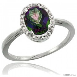 14k White Gold Mystic Topaz Diamond Halo Ring 1.17 Carat 8X6 mm Oval Shape, 1/2 in wide