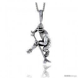 Sterling Silver Hockey Player Pendant, 1 in tall