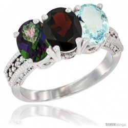 14K White Gold Natural Mystic Topaz, Garnet & Aquamarine Ring 3-Stone 7x5 mm Oval Diamond Accent