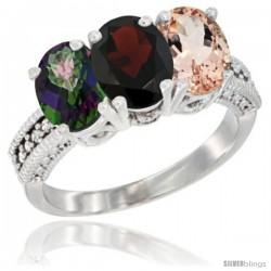 14K White Gold Natural Mystic Topaz, Garnet & Morganite Ring 3-Stone 7x5 mm Oval Diamond Accent