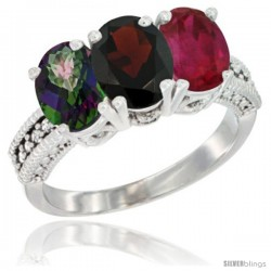 14K White Gold Natural Mystic Topaz, Garnet & Ruby Ring 3-Stone 7x5 mm Oval Diamond Accent
