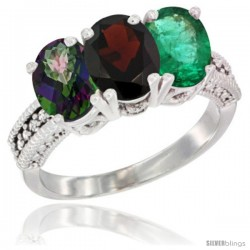 14K White Gold Natural Mystic Topaz, Garnet & Emerald Ring 3-Stone 7x5 mm Oval Diamond Accent