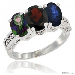 14K White Gold Natural Mystic Topaz, Garnet & Blue Sapphire Ring 3-Stone 7x5 mm Oval Diamond Accent