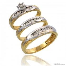 14k Gold 3-Piece Trio His (5mm) & Hers (3.5mm) Diamond Wedding Band Set w/ Rhodium Accent, w/ 0.45 Carat Brilliant Cut Diamonds