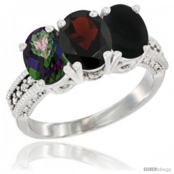 14K White Gold Natural Mystic Topaz, Garnet & Black Onyx Ring 3-Stone 7x5 mm Oval Diamond Accent