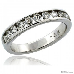 14k White Gold 11-Stone Ladies' Diamond Ring Band w/ 0.81 Carat Brilliant Cut Diamonds, 5/32 in. (4mm) wide