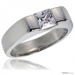 Sterling Silver .75 Carat Size Princess Cut Cubic Zirconia Solitaire Bridal Ring