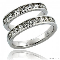 14k White Gold 2-Piece His (4mm) & Hers (4mm) Diamond Wedding Ring Band Set w/ 1.62 Carat Brilliant Cut Diamonds