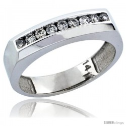 14k White Gold 9-Stone Ladies' Diamond Ring Band w/ 0.24 Carat Brilliant Cut Diamonds, 3/16 in. (5mm) wide