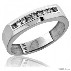 14k White Gold 9-Stone Men's Diamond Ring Band w/ 0.24 Carat Brilliant Cut Diamonds, 3/16 in. (5mm) wide