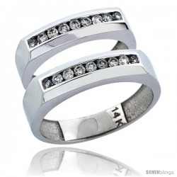 14k White Gold 2-Piece His (5mm) & Hers (5mm) Diamond Wedding Ring Band Set w/ 0.48 Carat Brilliant Cut Diamonds