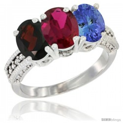 10K White Gold Natural Garnet, Ruby & Tanzanite Ring 3-Stone Oval 7x5 mm Diamond Accent