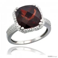 10k White Gold Diamond Garnet Ring 5.94 ct Checkerboard Cushion 11 mm Stone 1/2 in wide