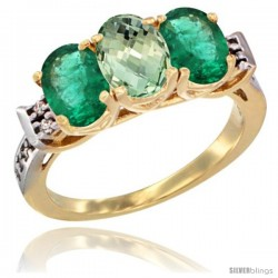 10K Yellow Gold Natural Green Amethyst & Emerald Sides Ring 3-Stone Oval 7x5 mm Diamond Accent