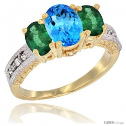 10K Yellow Gold Ladies Oval Natural Swiss Blue Topaz 3-Stone Ring with Emerald Sides Diamond Accent