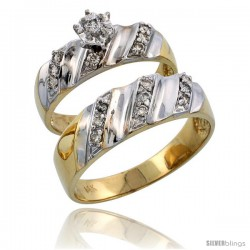 14k Gold 2-Piece Diamond Ring Set w/ Rhodium Accent ( Engagement Ring & Man's Wedding Band ), w/ 0.32 Carat -Style 14y116em