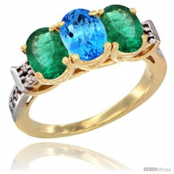 10K Yellow Gold Natural Swiss Blue Topaz & Emerald Sides Ring 3-Stone Oval 7x5 mm Diamond Accent