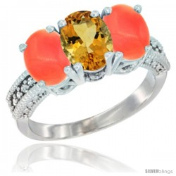 14K White Gold Natural Citrine Ring with Coral 3-Stone 7x5 mm Oval Diamond Accent