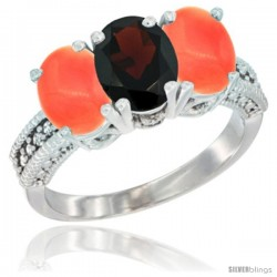 14K White Gold Natural Garnet Ring with Coral 3-Stone 7x5 mm Oval Diamond Accent