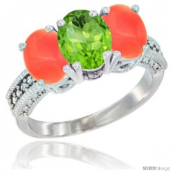 14K White Gold Natural Peridot Ring with Coral 3-Stone 7x5 mm Oval Diamond Accent