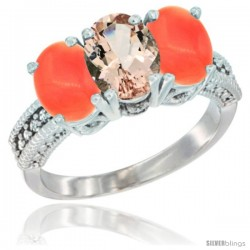 14K White Gold Natural Morganite Ring with Coral 3-Stone 7x5 mm Oval Diamond Accent