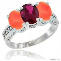 14K White Gold Natural Ruby Ring with Coral 3-Stone 7x5 mm Oval Diamond Accent