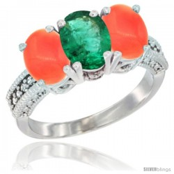 14K White Gold Natural Emerald Ring with Coral 3-Stone 7x5 mm Oval Diamond Accent