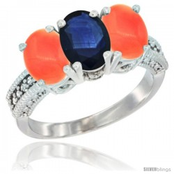 14K White Gold Natural Blue Sapphire Ring with Coral 3-Stone 7x5 mm Oval Diamond Accent