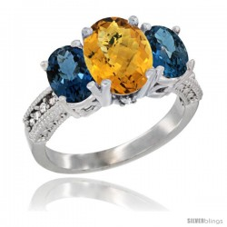10K White Gold Ladies Natural Whisky Quartz Oval 3 Stone Ring with London Blue Topaz Sides Diamond Accent