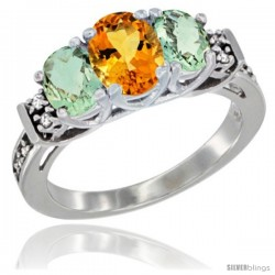 14K White Gold Natural Citrine & Green Amethyst Ring 3-Stone Oval with Diamond Accent