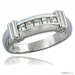 Sterling Silver Cubic Zirconia Mens Wedding Band Ring Channel Set Princess, 1/4 in wide -Style Agcz607mb