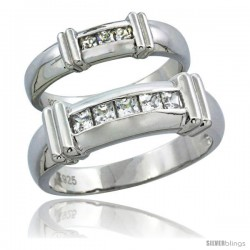 Sterling Silver Cubic Zirconia Wedding Band Ring 2-Piece Set 6.5 mm Him & Hers 5 mm Channel Set Princess -Style Agcz607w2
