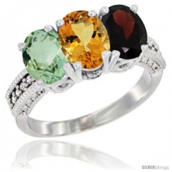 14K White Gold Natural Green Amethyst, Citrine & Garnet Ring 3-Stone 7x5 mm Oval Diamond Accent