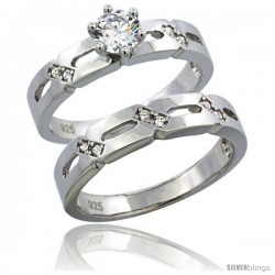 Sterling Silver Cubic Zirconia Ladies' Engagement Ring Set 2-Piece, 5/32 in wide -Style Agcz608e2