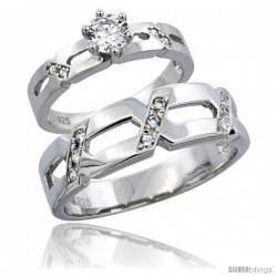 Sterling Silver Cubic Zirconia Engagement Rings Set for Him & Her 6.5mm Man's Wedding Band )