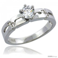 Sterling Silver Cubic Zirconia Solitaire Engagement Ring 1/2 ct size Brilliant cut, 5/32 in wide