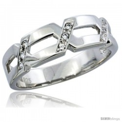 Sterling Silver Cubic Zirconia Mens Wedding Band Ring, 1/4 in wide -Style Agcz608mb