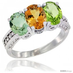 14K White Gold Natural Green Amethyst, Citrine & Peridot Ring 3-Stone 7x5 mm Oval Diamond Accent
