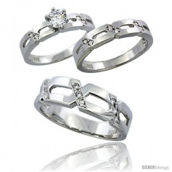 Sterling Silver Cubic Zirconia Trio Engagement Wedding Ring Set for Him & Her 6.5 mm, L 5 - 10 & M 8 - 14