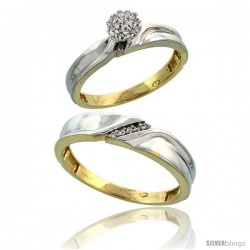 10k Yellow Gold Diamond Engagement Rings 2-Piece Set for Men and Women 0.09 cttw Brilliant Cut, 3.5mm & 5mm wide
