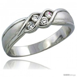 Sterling Silver Cubic Zirconia Ladies' Wedding Band Ring Channel Set, 3/16 in wide