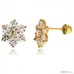 "14k Yellow Gold 5/16"" (9mm) tall Flower Stud Earrings, w/ Brilliant Cut CZ Stones"