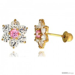 "14k Yellow Gold 5/16"" (9mm) tall Flower Stud Earrings, w/ Brilliant Cut Clear & Pink Tourmaline-colored CZ Stones"