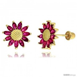 "14k Yellow Gold 3/8"" (10mm) tall Sunflower Stud Earrings, w/ Marquise Cut Ruby-colored CZ Stones"