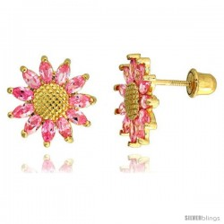 "14k Yellow Gold 3/8"" (10mm) tall Sunflower Stud Earrings, w/ Marquise Cut Pink Tourmaline-colored CZ Stones"