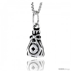 Sterling Silver Bag Pendant, 1/2 in tall -Style Pa1803