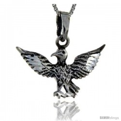 Sterling Silver Bird with Spread Wings Pendant, 1 1/4 in tall