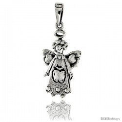 Sterling Silver Happy Apple Fairy Pendant, 1 in tall