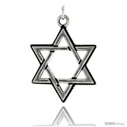 Sterling Silver Star of David Pendant, 1 1/8 in tall -Style Pa1969